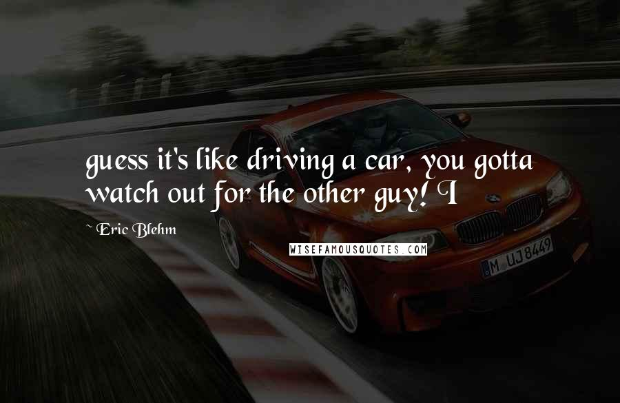 Eric Blehm quotes: guess it's like driving a car, you gotta watch out for the other guy! I