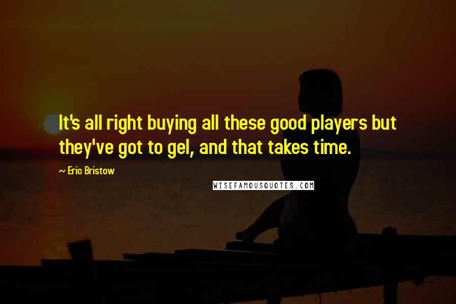 Eric Bristow quotes: It's all right buying all these good players but they've got to gel, and that takes time.