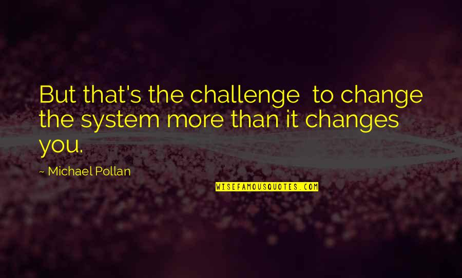 Eric Grzybowski Quotes By Michael Pollan: But that's the challenge to change the system