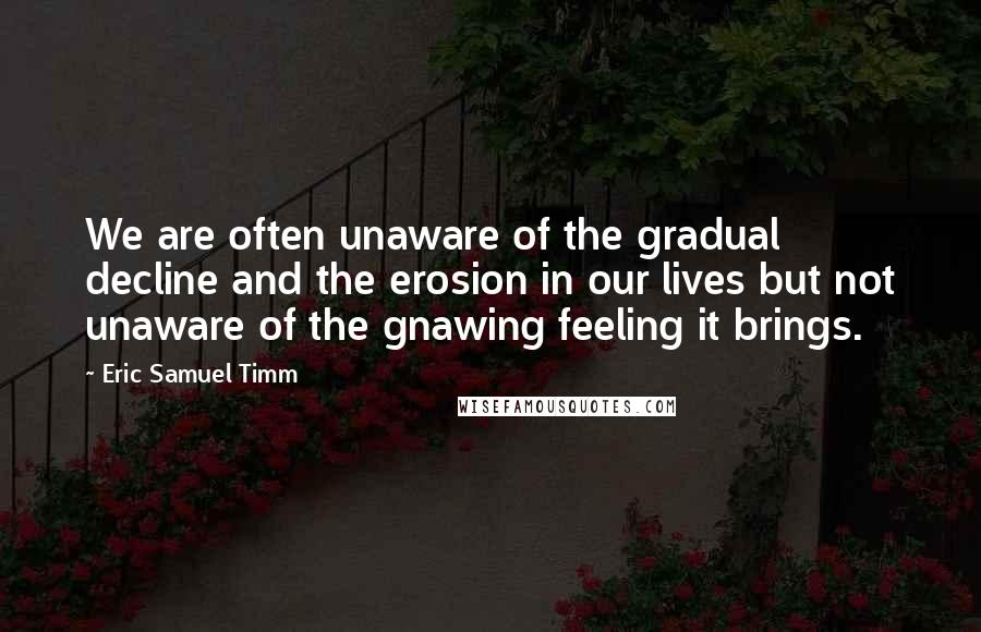 Eric Samuel Timm quotes: We are often unaware of the gradual decline and the erosion in our lives but not unaware of the gnawing feeling it brings.