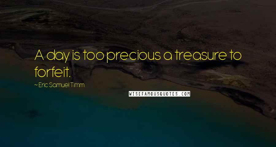 Eric Samuel Timm quotes: A day is too precious a treasure to forfeit.