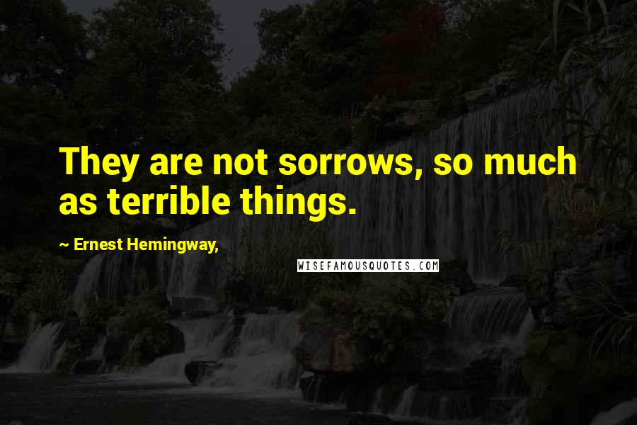 Ernest Hemingway, quotes: They are not sorrows, so much as terrible things.