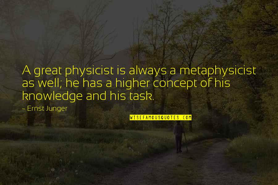 Ernst Junger Quotes By Ernst Junger: A great physicist is always a metaphysicist as