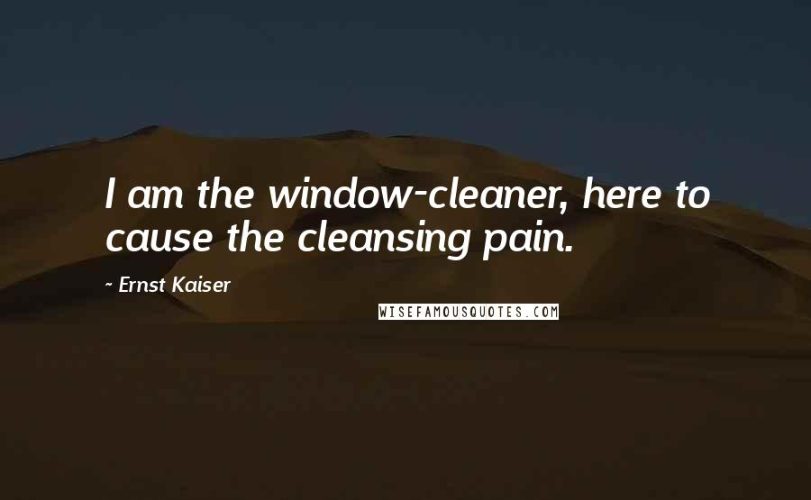 Ernst Kaiser quotes: I am the window-cleaner, here to cause the cleansing pain.