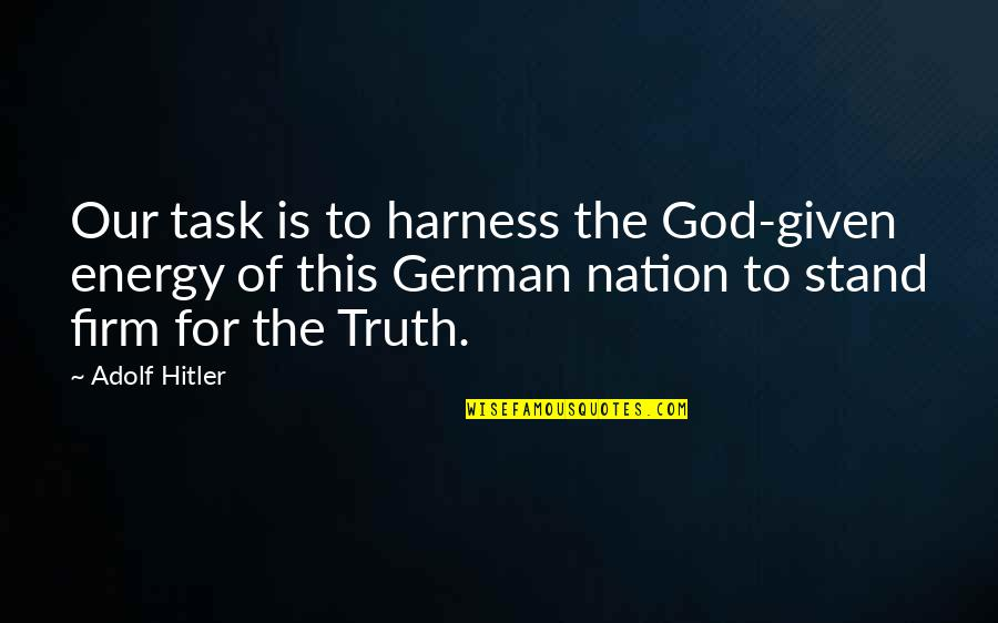 Erra Quotes By Adolf Hitler: Our task is to harness the God-given energy
