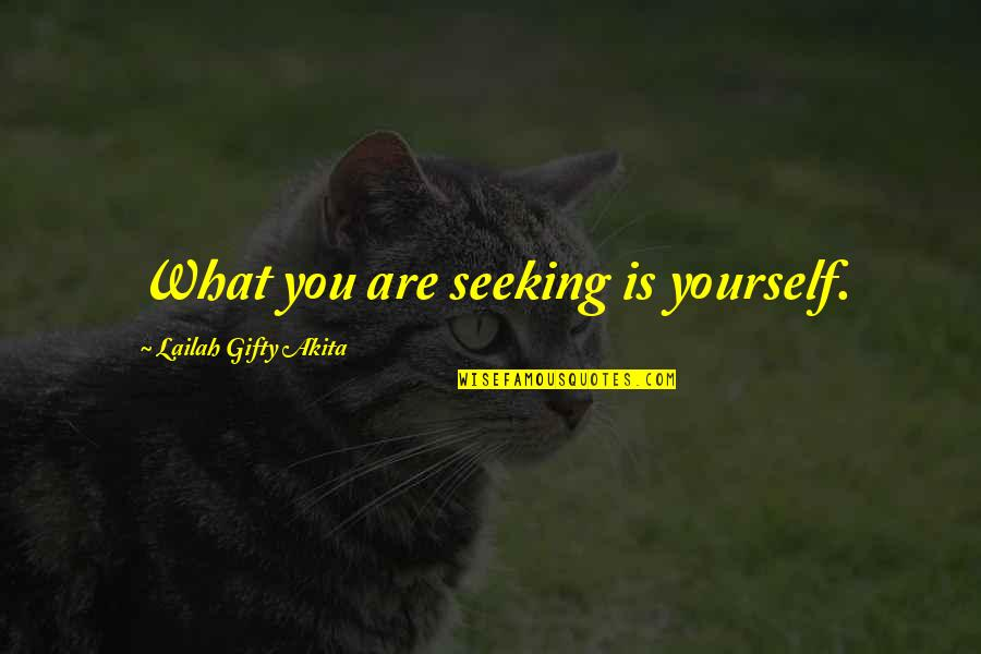 Erudity Quotes By Lailah Gifty Akita: What you are seeking is yourself.