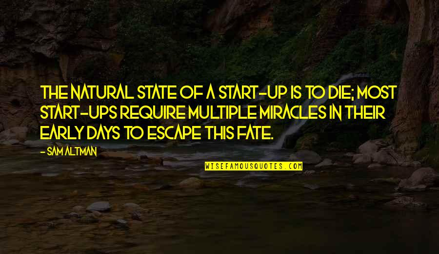Escape The Fate Quotes By Sam Altman: The natural state of a start-up is to