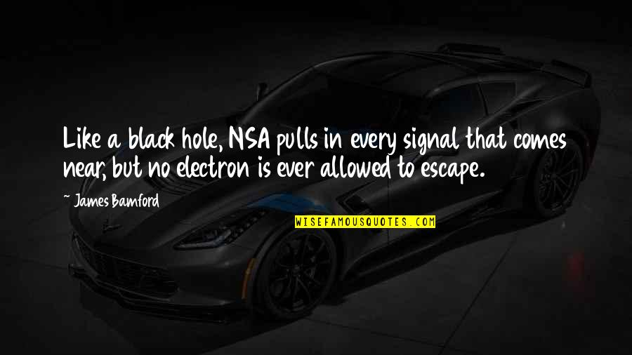 Espionage Quotes By James Bamford: Like a black hole, NSA pulls in every