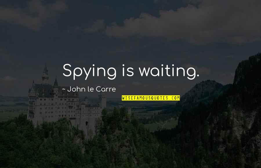 Espionage Quotes By John Le Carre: Spying is waiting.