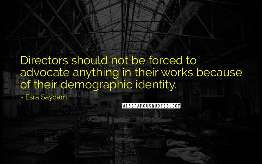 Esra Saydam quotes: Directors should not be forced to advocate anything in their works because of their demographic identity.