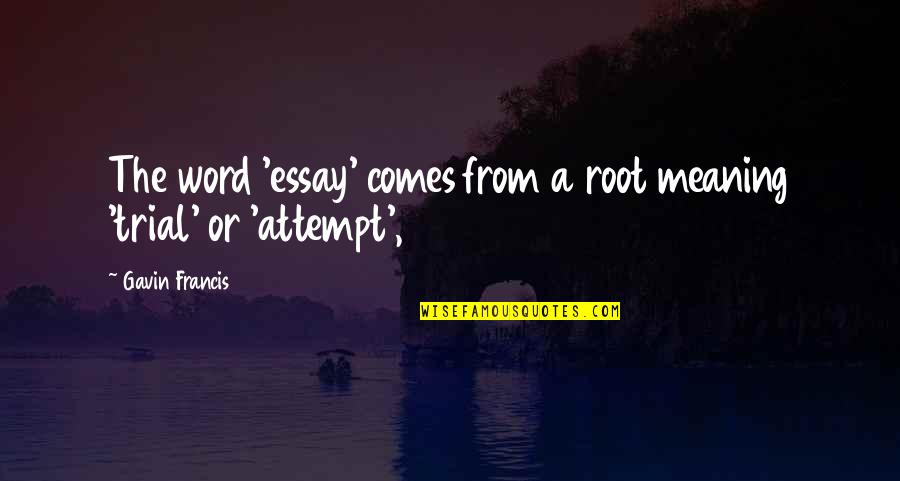 Essay Quotes By Gavin Francis: The word 'essay' comes from a root meaning