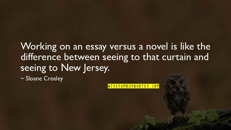 Essay Quotes By Sloane Crosley: Working on an essay versus a novel is