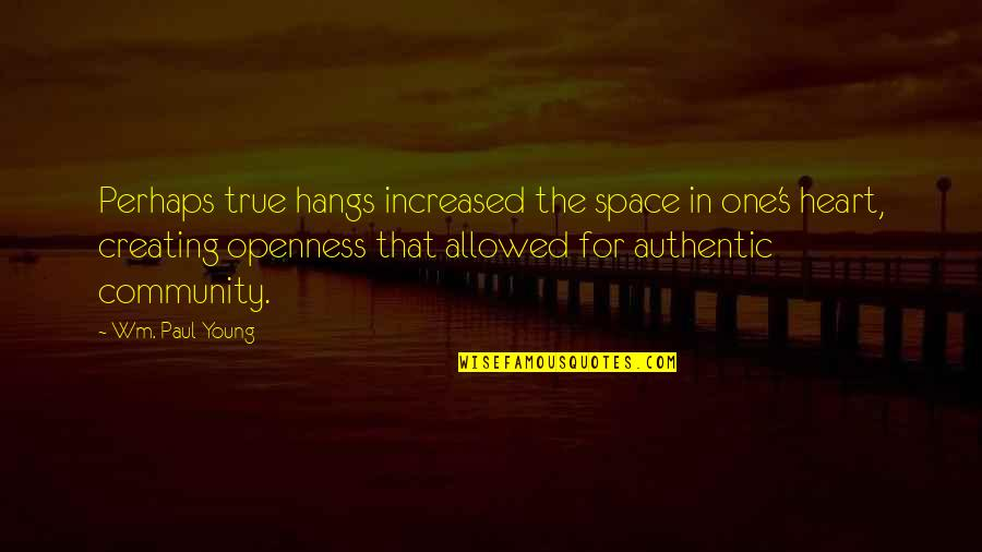 Este Que Ves Quotes By Wm. Paul Young: Perhaps true hangs increased the space in one's