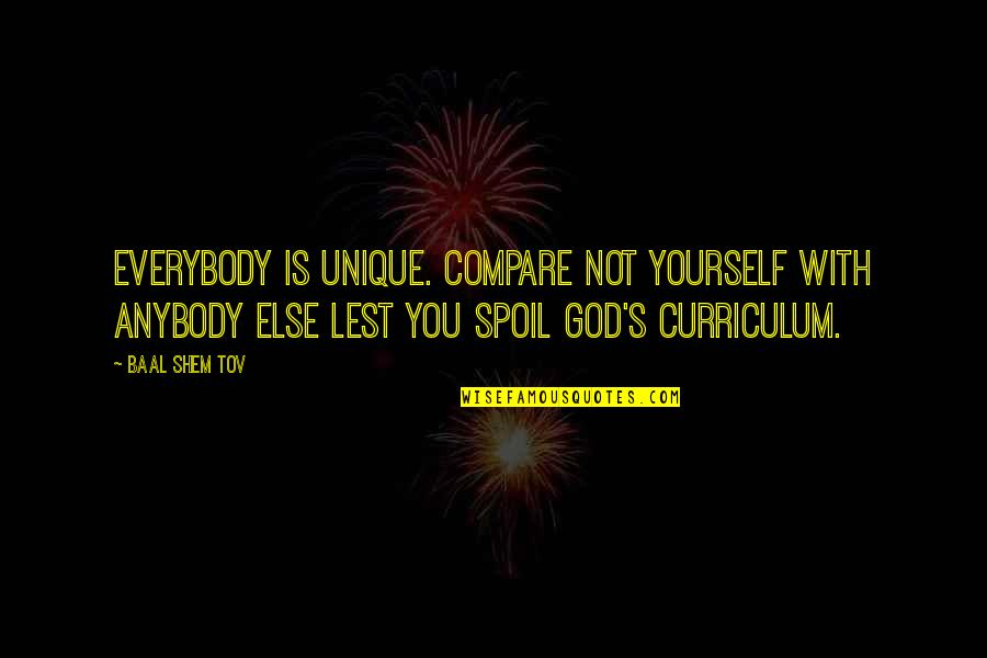 Esteem's Quotes By Baal Shem Tov: Everybody is unique. Compare not yourself with anybody