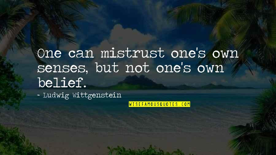 Esteem's Quotes By Ludwig Wittgenstein: One can mistrust one's own senses, but not