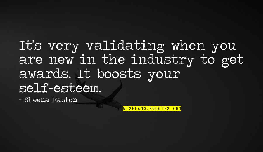 Esteem's Quotes By Sheena Easton: It's very validating when you are new in