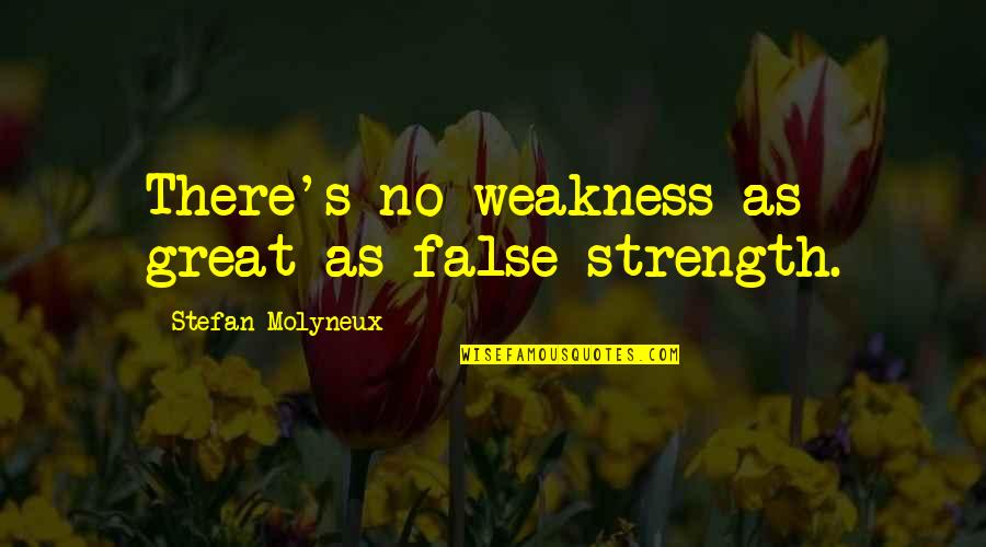 Esteem's Quotes By Stefan Molyneux: There's no weakness as great as false strength.