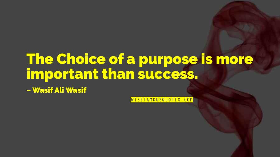 Esther Rolle Quotes By Wasif Ali Wasif: The Choice of a purpose is more important