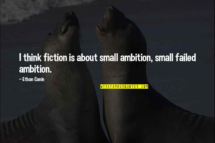 Ethan Canin Quotes By Ethan Canin: I think fiction is about small ambition, small