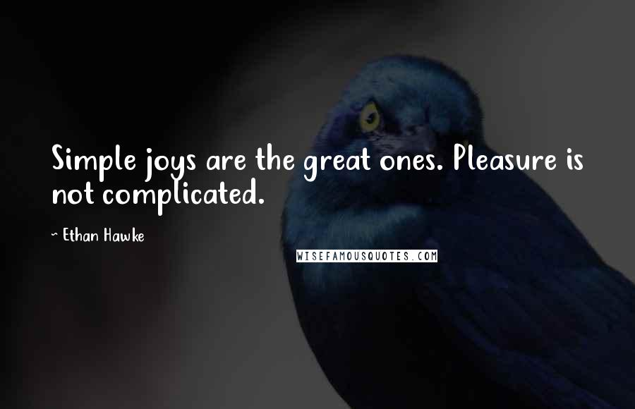 Ethan Hawke quotes: Simple joys are the great ones. Pleasure is not complicated.