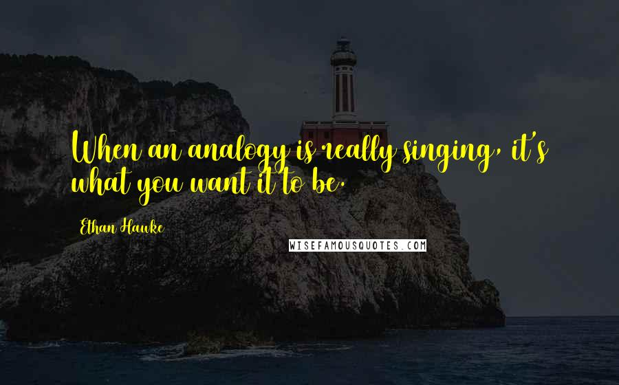 Ethan Hawke quotes: When an analogy is really singing, it's what you want it to be.
