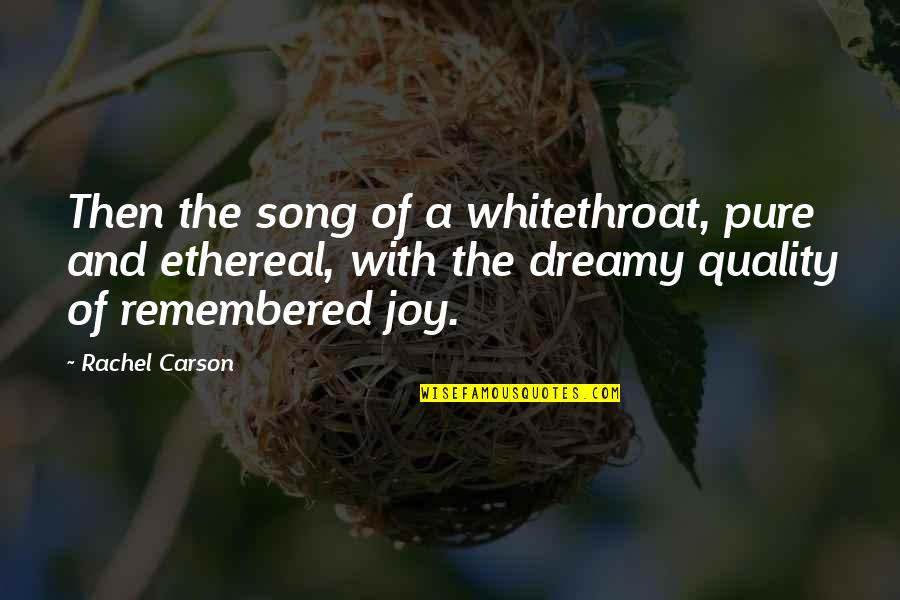 Ethereal Quotes By Rachel Carson: Then the song of a whitethroat, pure and