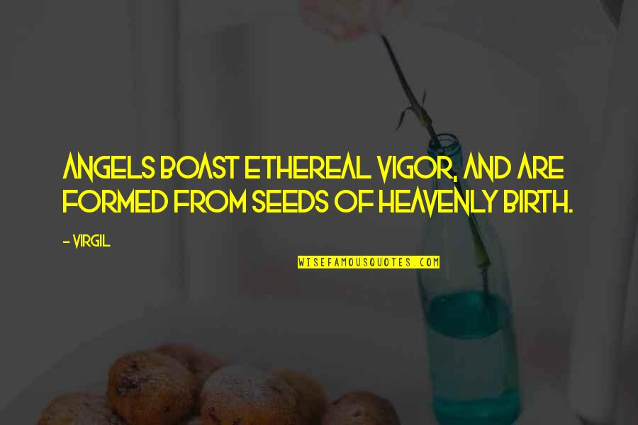 Ethereal Quotes By Virgil: Angels boast ethereal vigor, and are formed from