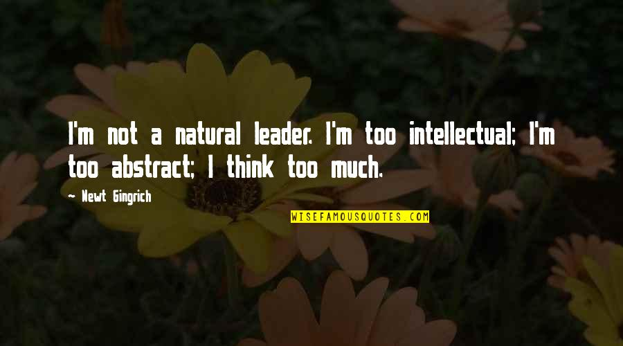 Ethnicities Quotes By Newt Gingrich: I'm not a natural leader. I'm too intellectual;