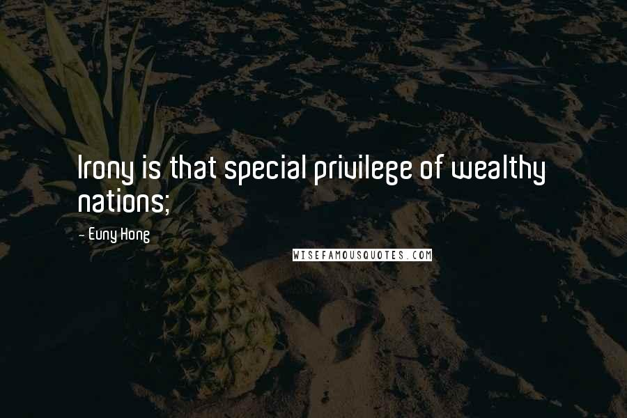 Euny Hong quotes: Irony is that special privilege of wealthy nations;