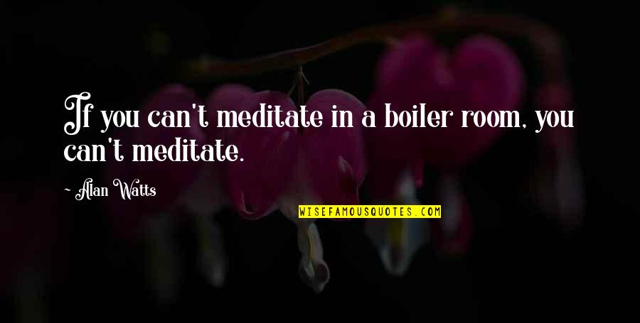 Eurekamen Quotes By Alan Watts: If you can't meditate in a boiler room,