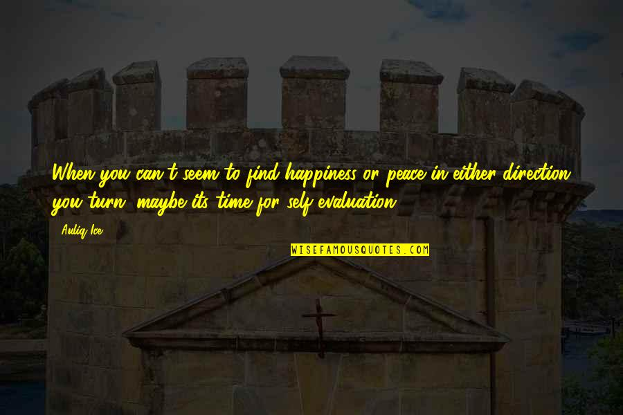 Evaluation's Quotes By Auliq Ice: When you can't seem to find happiness or