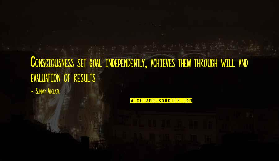 Evaluation's Quotes By Sunday Adelaja: Consciousness set goal independently, achieves them through will