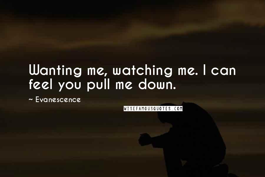 Evanescence quotes: Wanting me, watching me. I can feel you pull me down.