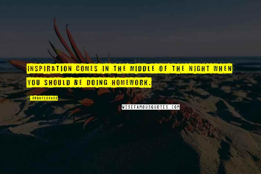 Evanescence quotes: Inspiration comes in the middle of the night when you should be doing homework.