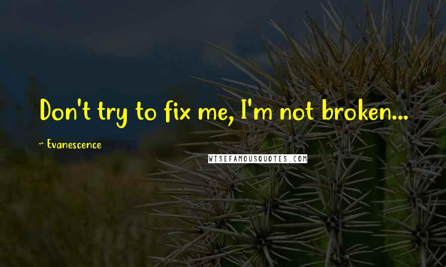 Evanescence quotes: Don't try to fix me, I'm not broken...