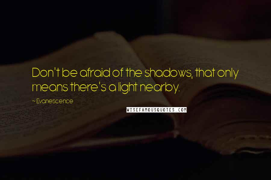 Evanescence quotes: Don't be afraid of the shadows, that only means there's a light nearby.