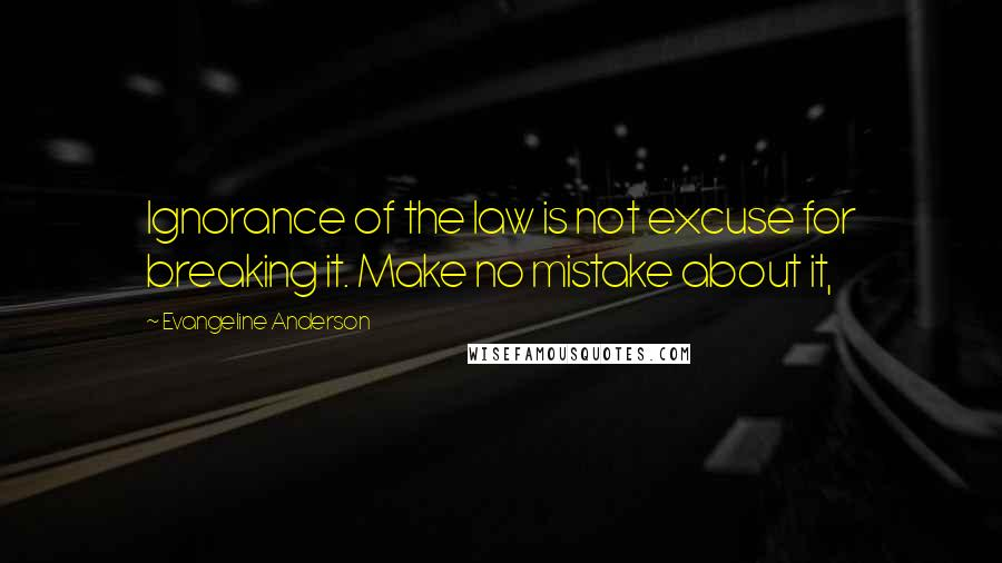 Evangeline Anderson quotes: Ignorance of the law is not excuse for breaking it. Make no mistake about it,