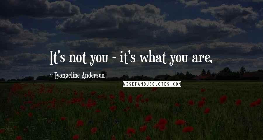 Evangeline Anderson quotes: It's not you - it's what you are,