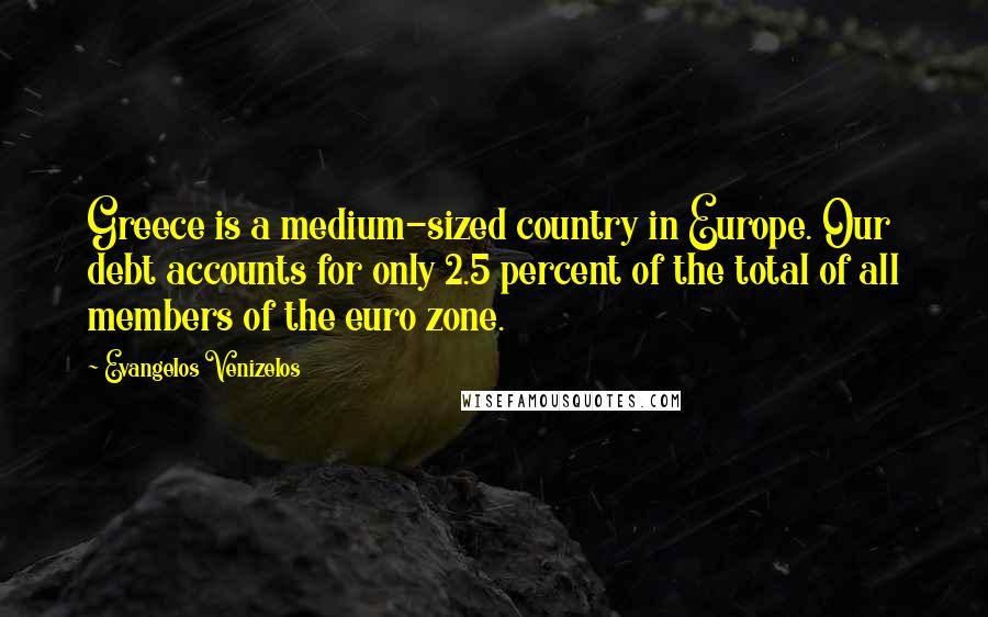 Evangelos Venizelos quotes: Greece is a medium-sized country in Europe. Our debt accounts for only 2.5 percent of the total of all members of the euro zone.