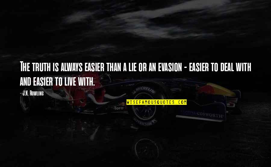 Evasion Quotes By J.K. Rowling: The truth is always easier than a lie