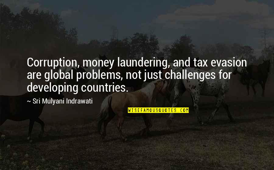 Evasion Quotes By Sri Mulyani Indrawati: Corruption, money laundering, and tax evasion are global