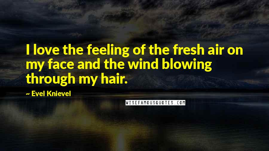 Evel Knievel quotes: I love the feeling of the fresh air on my face and the wind blowing through my hair.