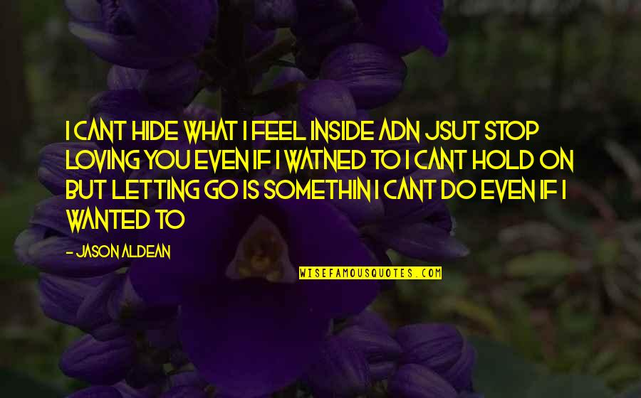 Even Love Quotes By Jason Aldean: I cant hide what i feel inside adn