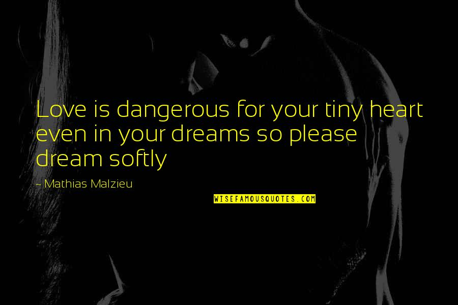 Even Love Quotes By Mathias Malzieu: Love is dangerous for your tiny heart even