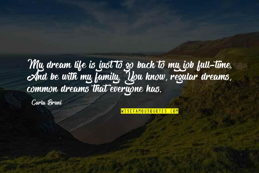 Everyone Has Dreams Quotes By Carla Bruni: My dream life is just to go back