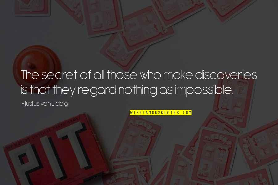 Everything Changes Over Time Quotes By Justus Von Liebig: The secret of all those who make discoveries