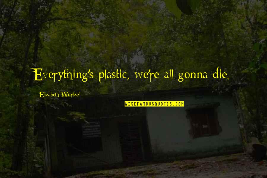 Everything Gonna Be Okay Quotes By Elizabeth Wurtzel: Everything's plastic, we're all gonna die.