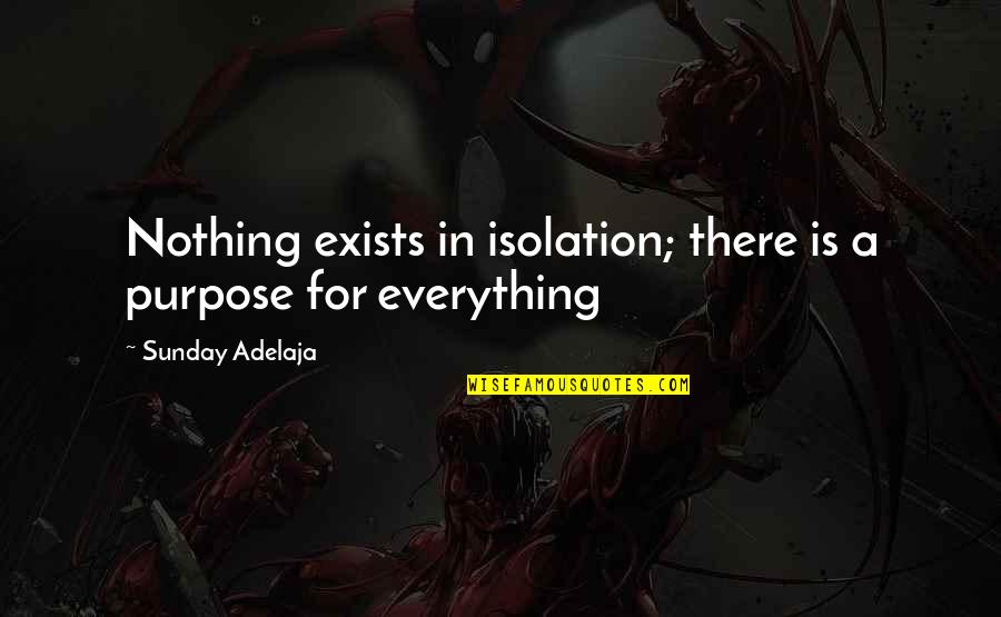 Everything Is Not Money Quotes By Sunday Adelaja: Nothing exists in isolation; there is a purpose