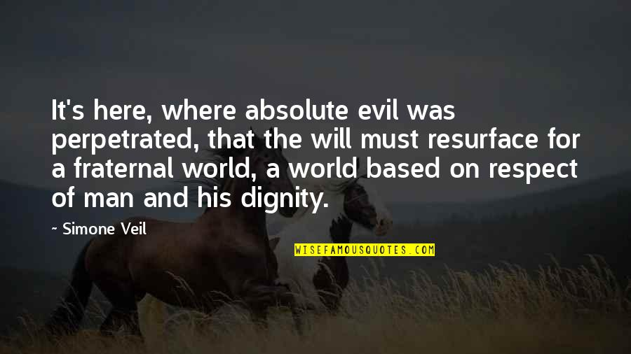 Evil Of Man Quotes By Simone Veil: It's here, where absolute evil was perpetrated, that