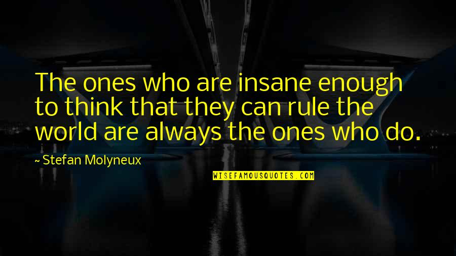 Evil Rulers Quotes By Stefan Molyneux: The ones who are insane enough to think